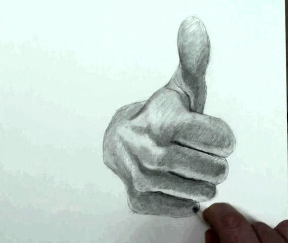 draw hand step by step thumbs up 12