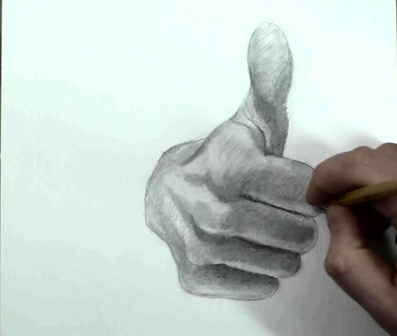 draw hand step by step thumbs up 13
