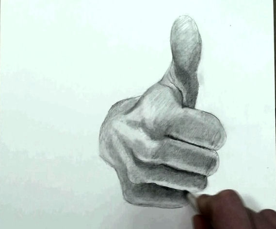 Thumbs up draw hand step by step 14