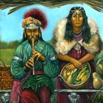 Waukus, the Shinnecock Flute Player And Daughter