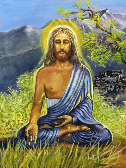 Jesus' missing years in India #2. Here is another version showing Jesus during his years in India during the `missing` years from the Bible. He is shown in meditation as an eastern master. The original is an oil on canvas, $2000 plus shipping charges, unframed. For more information contact the artist. <br /><br />