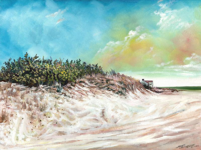 Coopers Beach - Southampton N.Y.. This is a painting of Coopers Beach in South Hampton, New York. This is a different feel from my usual Native American work.<br /><br />The original is an oil on canvas, $900 plus shipping charges, unframed. For more information contact the artist.