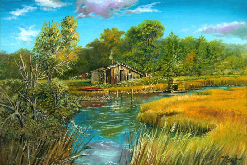 Doing Laundry. This is the picture of a fishing shack that is the home of a solitary Native American man. It is an imaginary image based on the wetlands surrounding the south shore of eastern Long Island.