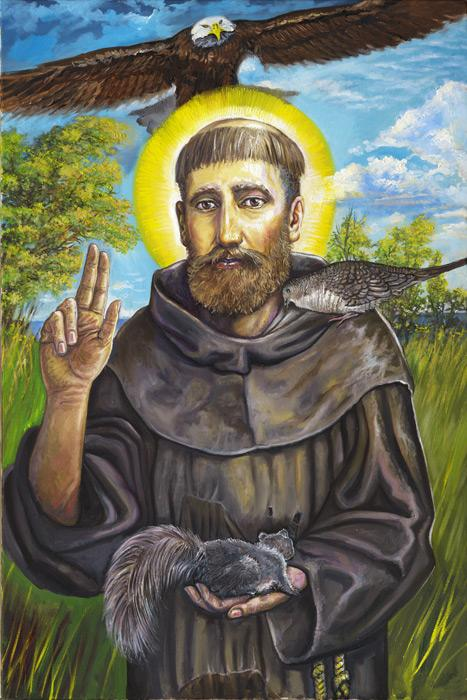 St. Francis. This is an image of St. Francis showing his special relationship with the creatures of nature. <br /><br />The original of this image is an oil on canvas, 28x36, unframed, $3000 plus the shipping charges. For more information contact the artist.