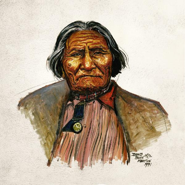 Geronimo - At Fort Still. This is a portrait of Chiricahua Apache War Leader/Medicine Man, Geronimo, while held prisoner of war at Fort Sill Oklahoma.<br /><br />The original of this image is an oil on acrylic panel with a brown frame. The price is $1800 plus the shipping charges. For more information contact the artist.
