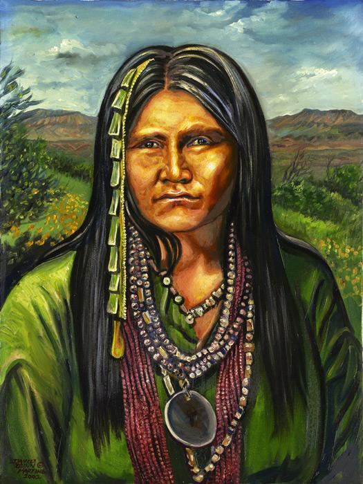 Gouyen - Chiricahua Apache Woman Warrior. Gouyen is an example of a Chiricahua Apache Woman Warrior who was known during the Apache wars of the 1880s in the southwest U.S. Chiricahua Apaches were trained as warriors from a young age and women, on occasion, went through warriors training. She wears the typical Native American clothing of the Apache woman of the period.