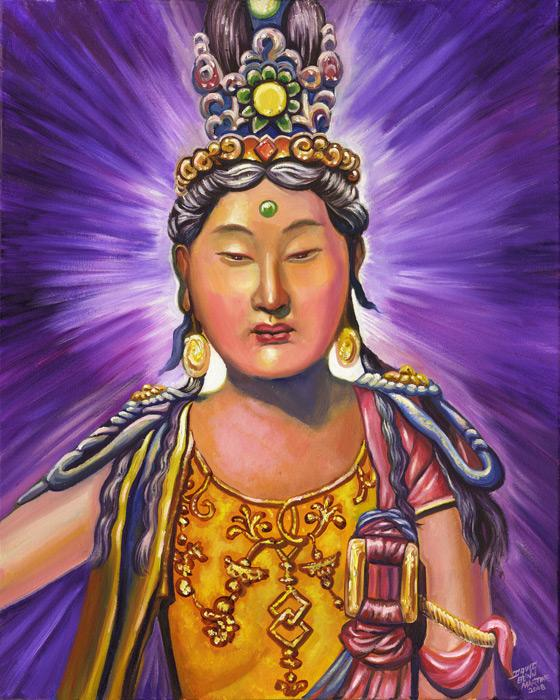 Kwan Yin with Blue Crown. Kwan Yin is a Chinese Goddess.<br /><br />The original of this image is an oil on canvas size 24x30 and is unframed. The price is $2000 plus shipping charges. For more information contact the artist.