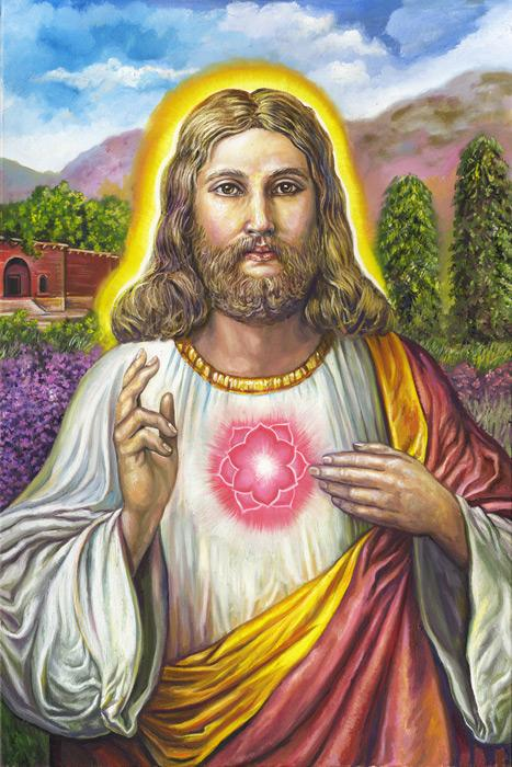 Jesus' missing years in India. This is an image of Jesus in India during the so called missing years in the Bible. He is shown with his sacred heart as a heart chakra after the manner of the eastern masters. <br /><br />The original of this image is an oil on canvas, 28x36, unframed, and is $5000 plus shipping charges. For more information contact the artist.