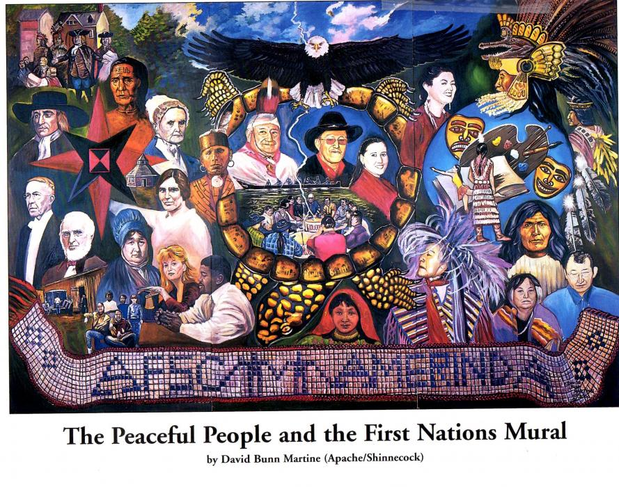 """The Peaceful People and the First Nations Mural"". This original mural is 8`x12` and was done in oil on Masonite panel. It is a commemorative piece depicting relations between Native Americans and the Quaker church."