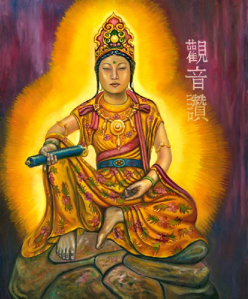 Kuanyin - Goddess Of Mercy. Kuanyin is the bodhisattva `enlightened being` of compassion as revered by the East Asian Buddhists. It is a different feel from my Native American works.