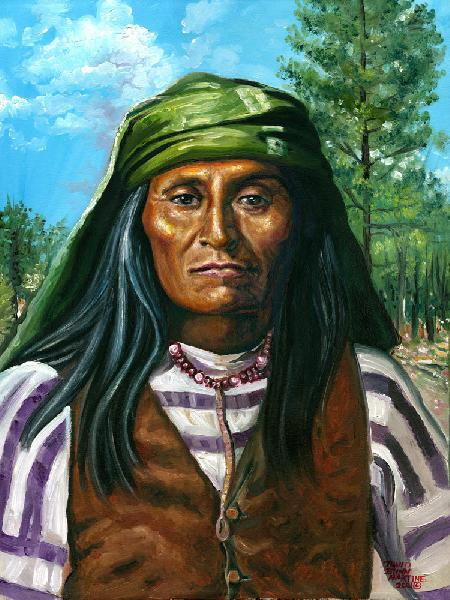 Mangas - Son of Chief Mangas Coloradas. Artist`s Note:<br /><br />Relative of artist - David Martine<br /><br />Mangas, Son of Chief Mangas Coloradas surrendered a short time after Geronimo in 1886 and headed a Native American family group of the Warm Springs Chiricahua Apache people whose homelands were located in the Western Half of Central and Southern New Mexico. He was imprisoned in Ft. Pickens, Florida, Mobile Alabama, and Fort Sill, Oklahoma with the other Chiricahua Apache people after the surrender of Geronimo in 1886.