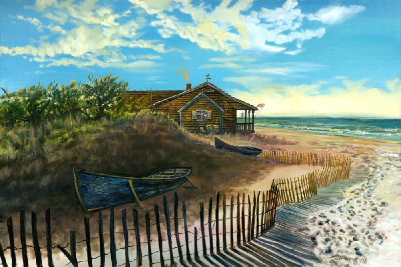Old Blue Boat. This is a scene of a small cabin by the ocean with an old blue boat. It is a different subject from my Native American paintings.