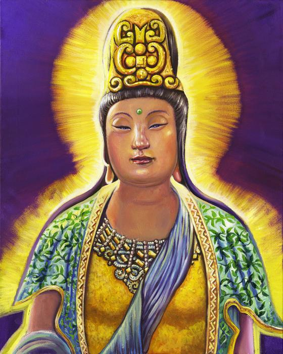 Kwan Yin with Blue Sash. Kwan Yin is a Chinese Goddess.<br /><br />The original of this image is an oil on canvas, 24x30, and is unframed. The price is $2000 plus shipping charges. For more information contact the artist.