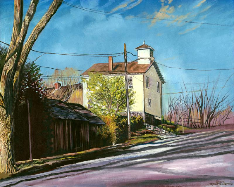 Sag Harbor, N.Y. #1. This is a scene of a quiet road in Sag Harbor, Long Island, New York. It is an area that was populated by Native Americans in the past.<br /><br />The original is oil on canvas, $2000 plus shipping charges, and unframed. For more information contact the artist.