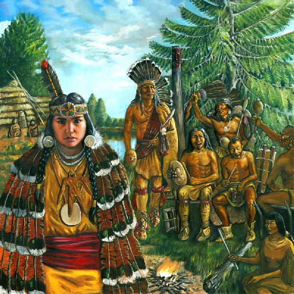 Shinnecock Ceremony CA - 1750. This picture is a statement about the traditional ancient cultures of the Long Island Indians of the 17th century. The image has references to the traditional cape of turkey feathers and also the traditional spiritual practices. The young Native American girl wearing the cape of feathers is either being honored in a special way or has a great deal of importance because of some experience or family recognition.