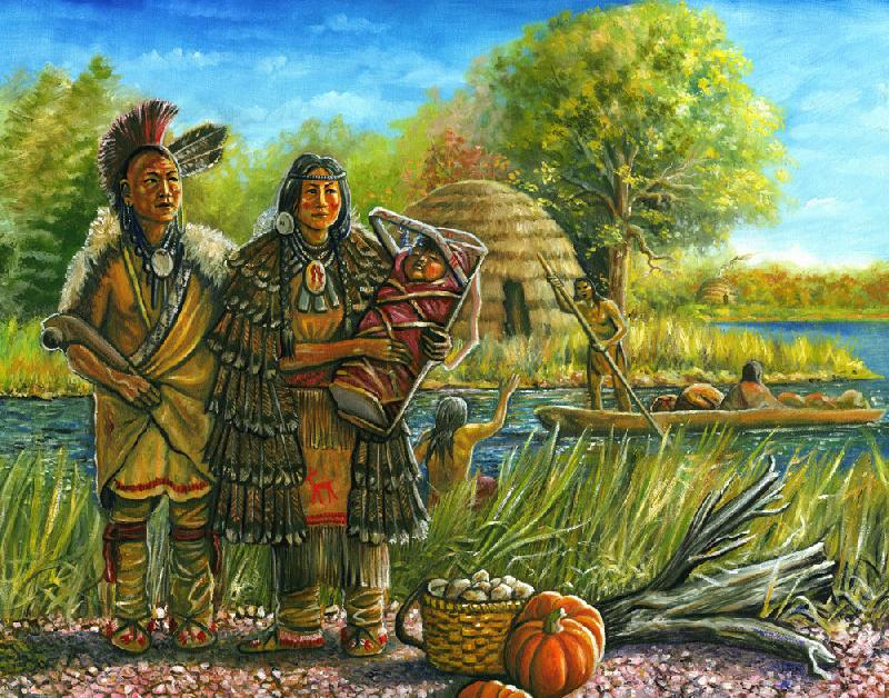 Shinnecock Homecoming. This Long Island Shinnecock-Algonquian Indian husband and wife await news from a friend coming in a dug-out canoe from a distant village. This Native American scene is during the 17th century.
