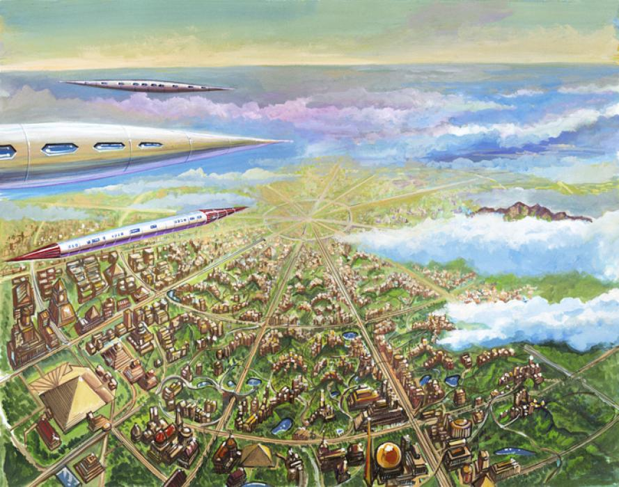 Vailx airships over the Capital of the continent of Atlantis. Taken from the book `A Dweller on Two Planets` by Phylos<br /><br />Vailx airships over Caiphul, the ancient capital city of Poseid (Atlantis).<br />