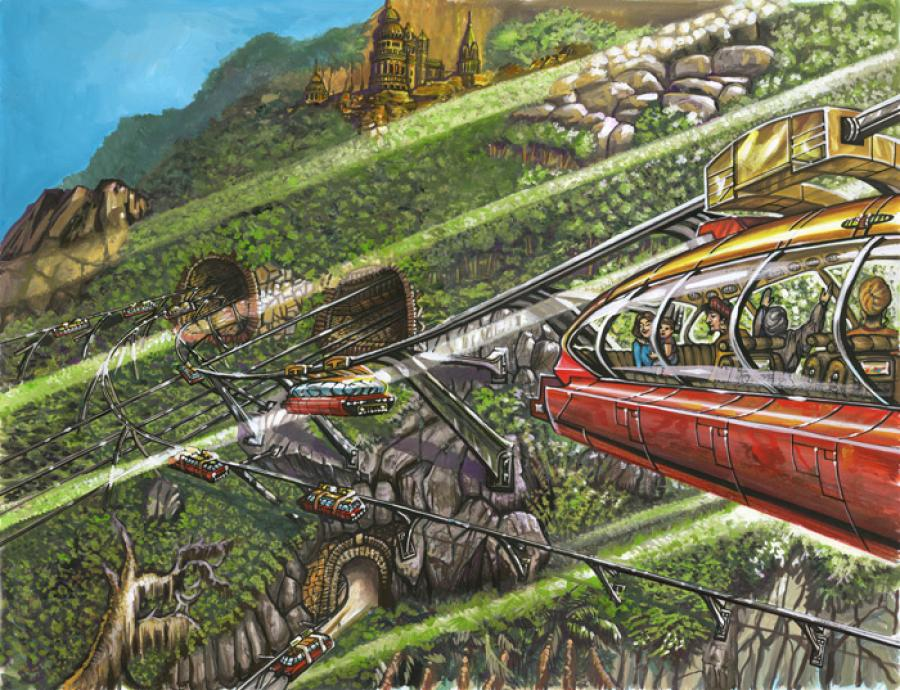Electric trams and tourists, Atlantis, 10,000 B.C.. From the book: `A Dweller on Two Planets` by Phylos<br /><br />Electric tram rides for tourists in Caiphul, the ancient capital of Poseid (Atlantis).