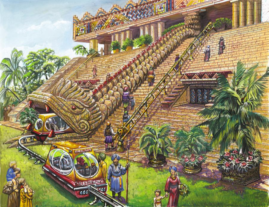 Palace at Agacoe: Capital of Atlantis. From the book: `A Dweller on Two Planets` by Phylos<br /><br />Electric rail cars going into the Palace at Agacoe, in the Capital City of Caiphul in ancient Poseid (Atlantis).
