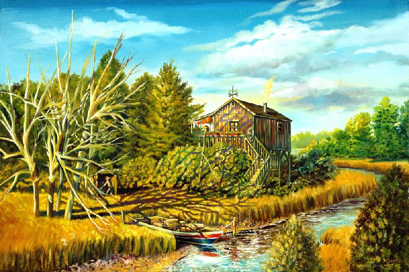 The Boat House. Different from my Native American works, it is a painting of a boat house.