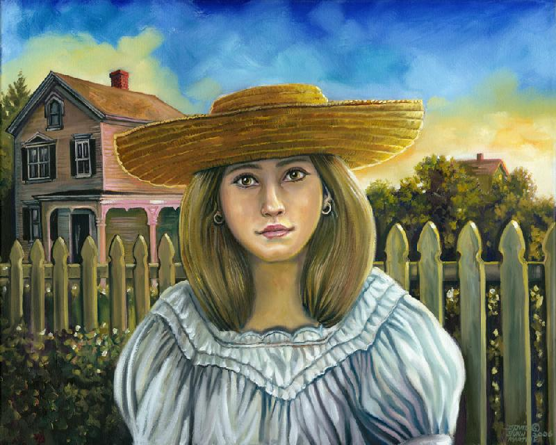 Twilight Mood. This is a picture of a young girl wearing a sun hat at twilight in front of a New England house and picket fence. This is a different subject matter from my usual Native American work.