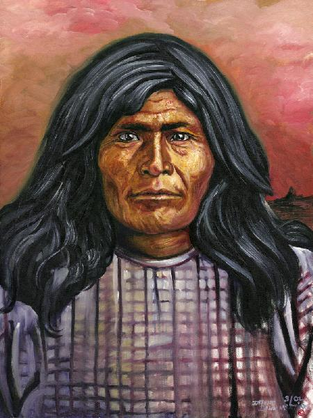 Victorio - Warm Springs Chiricahua Apache Chief 1820-1880. Relative of Native American artist David Martine. Chief Victorio was the leader of the Chiricahua Warms Springs Apaches whose homelands were based around Warm Springs, New Mexico. The homelands were a large portion of western New Mexico. Chief Victorio was killed during a battle with the Mexican Army in 1880.