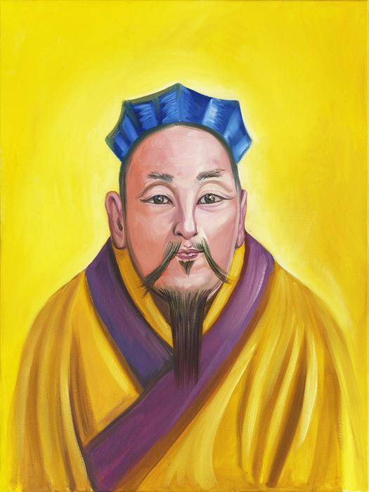 Great Sage of Wisdom. This is an image of a great Chinese spiritual master.<br /><br />The original of this image is an oil on canvas, unframed, $1800 plus shipping charges. For more information contact the artist.