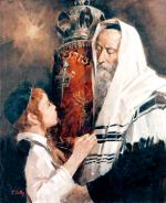 Child Kissing the Torah #3374   (Theodor Tolby) - Torah Learning