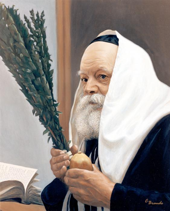 Lubavitch Rebbe With Lulav #3372  (Carl Braude).
