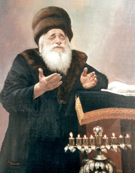 Vishnitz Rebbe with Menorah    #3383     (Carl Braude).