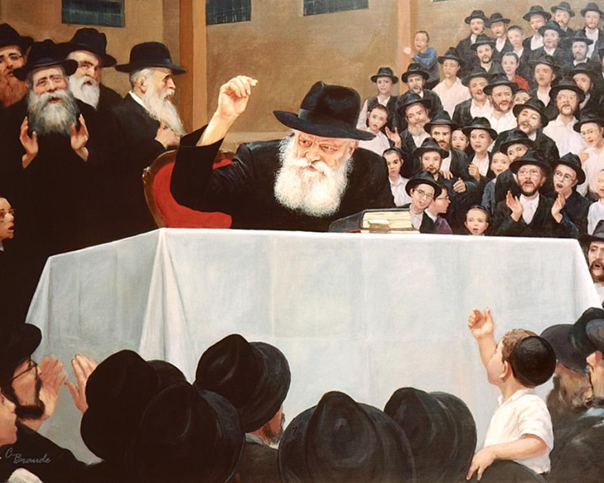 Farbrengun in Lubavitch #9144  (Carl Braude)  .