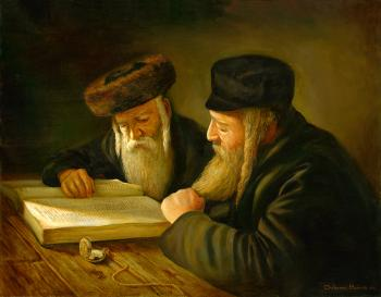 Two Men Learning #BD1052   (Boris Dubrov) by Torah Learning