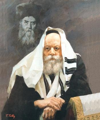 Lubavitch Rebbe with Maharyatz in Backround #4225  (Theodor Tolby) by Rabbis
