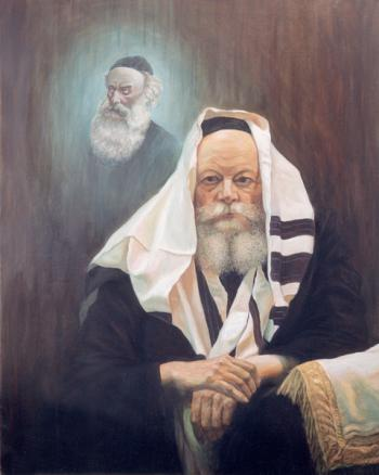 Lubavitch Rebbe with Baal HaTanya #4256   (Theodor Tolby) by Rabbis