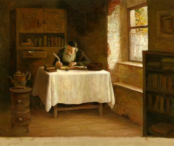 Old Man Writing #BD1007  (Boris Dubrov) by Jewish Life