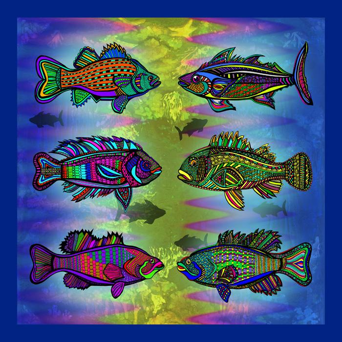Fish Tank-color-4. Multiple fish in one piece of art. Available in museum quality canvas or fine art paper.