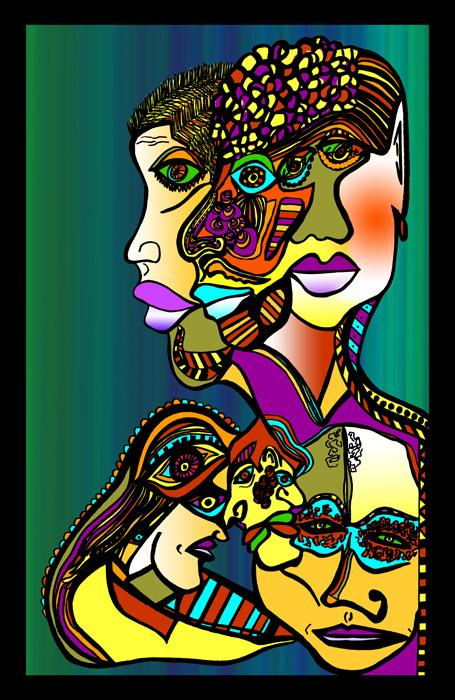 7 People-color 1 -Blk Border. Colorful modern design of 7 people. Unusual figurative painting with deep meaning. A conversational piece.<br />Fine art paper or museum quality canvas available. Pricing upon request.
