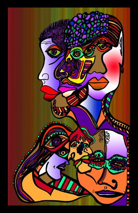 7people-color-2-with Blk Border. Available in museum quality canvas or fine art paper. Pricing upon request.