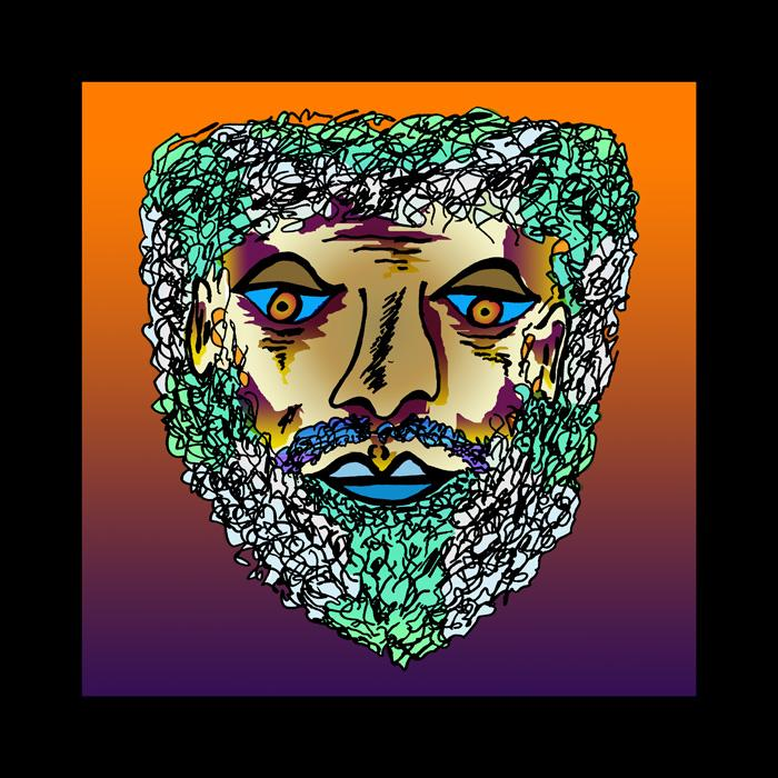 Bearded Man - color 1 Black Border. Available in museum quality canvas and fine art paper. Pricing upon request.