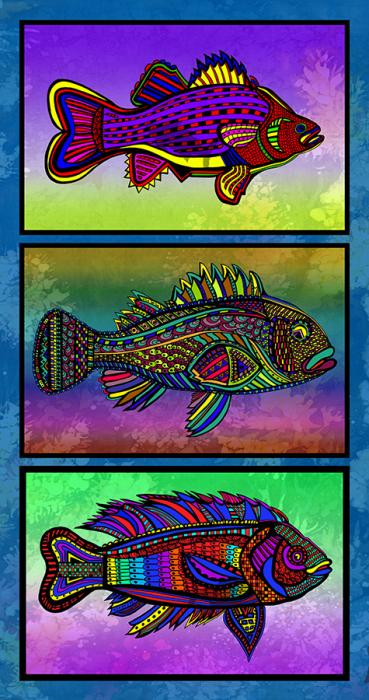 Blackfish-Black Bass-Porgy-original size Fish. Price upon request. 20 x 30 inches or 16 1/4 x 28 1/4 inches