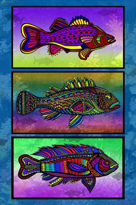 3 FISH- Black Borders. Price upon request...20 x 30 inches