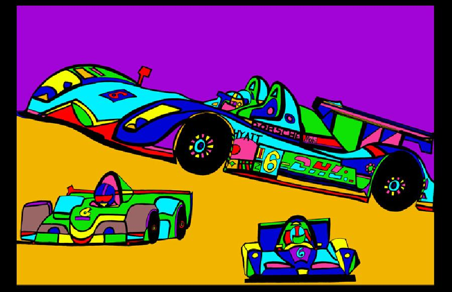 Indi Race Car (car 3 - color 2). Available in quality fine art paper and museum quality canvas. Pricing upon request. 11 x 17