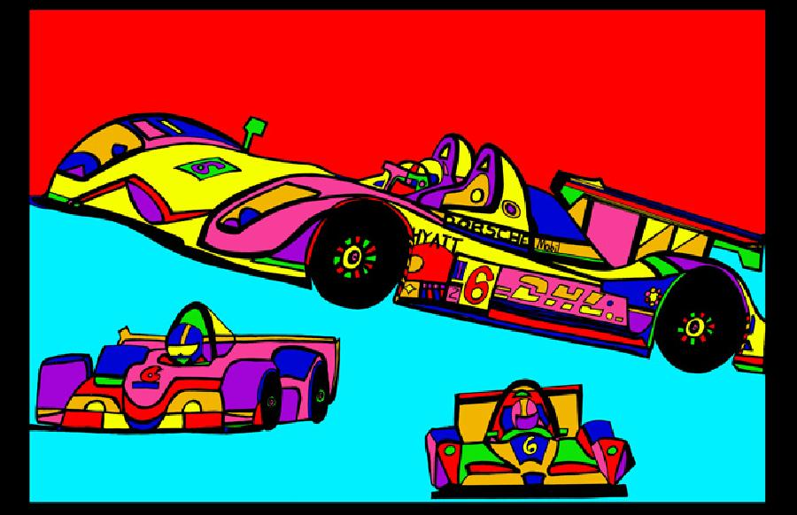 Indi Race Car (car 3 - color 1). Available in quality fine art paper or museum quality canvas. Pricing upon request. 11 x 17