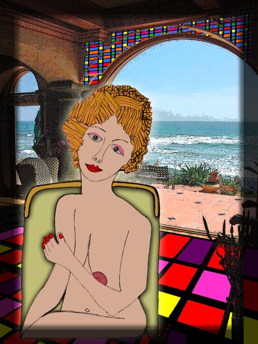 Vacation Lady. A combination of creative art work and photo realism incorporated into this unique expression. Available in museum quality canvas and fine art paper. Size and Price on request.