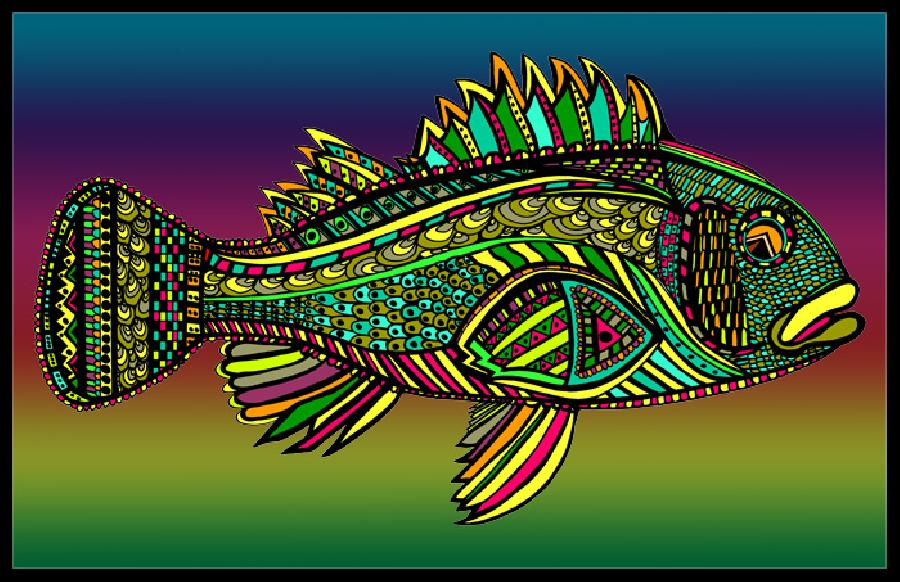 Black Bass (Fish10- Color 1). Available in fine art paper and museum quality canvas. All canvas is gallery wrapped with 1 1/2 inch bars. Pricing upon request. 11 x 17