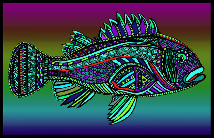 Black Bass (Fish10- Color 2). Select fine art paper or museum quality canvas. iix 17. Pricing upon request.