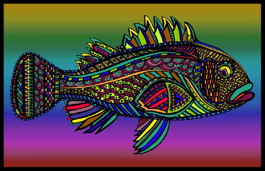 Black Bass (Fish10- Color 3). Pricing upon request. 11 x 17