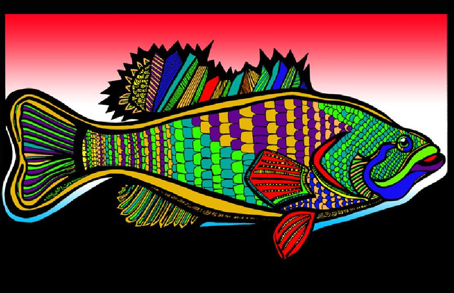 Large Mouth Bass (Fish 1 - color 6). Pricing upon request. 11 x 17