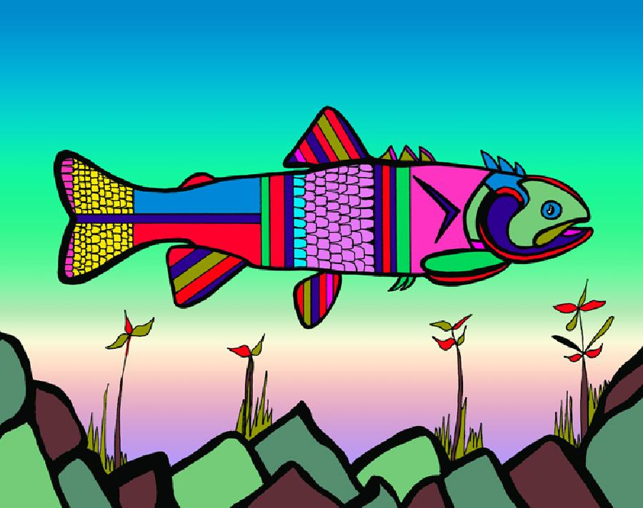 Herring (Fish 2 color 1). Available in quality fine art paper or museum quality cavas. Pricing upon request. 11 x 14