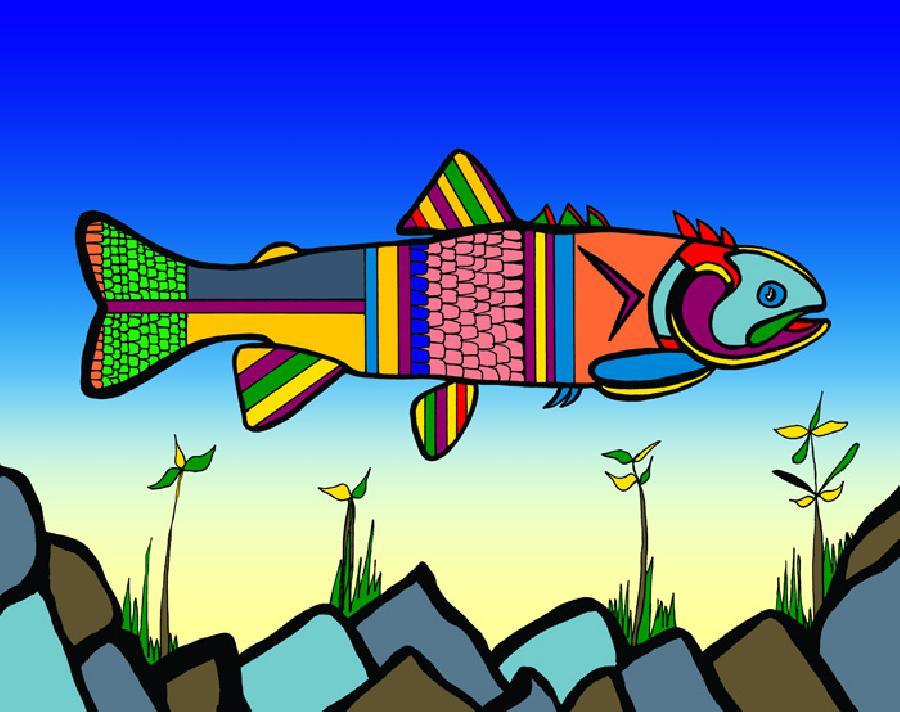 Herring (Fish 2 color 2). Available in quality fine art paper and museum quality canvas. Canvas gallery wrapped with 1 1/2 inch deep bars. Pricing upon request. 11 x 14